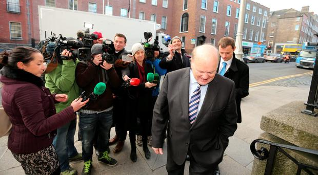 Michael Noonan making his way into Government Buildings this morning. Photo: Gerry Mooney