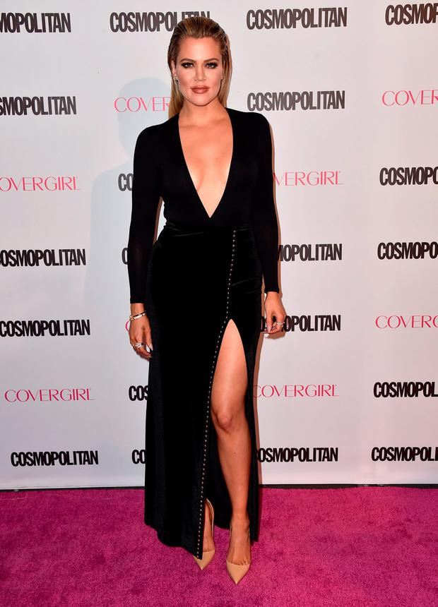 Khloe Kardashian arrives at Cosmopolitan magazine's 50th birthday celebration at Ysabel on Monday, Oct. 12, 2015, in West Hollywood, Calif. (Photo by Jordan Strauss/Invision/AP)