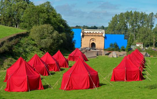 A film set is constructed for the Game of Thrones fantasy television series as filming for season six continues on September 28, 2015 in Banbridge, Northern Ireland. The set is believed to represent House Tully of Riverrun, a fictional castle which belongs to the Tully family.