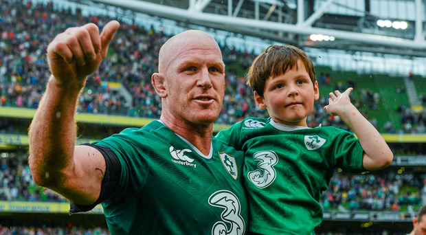 Ireland's Paul O'Connell and his son Paddy, 5 years