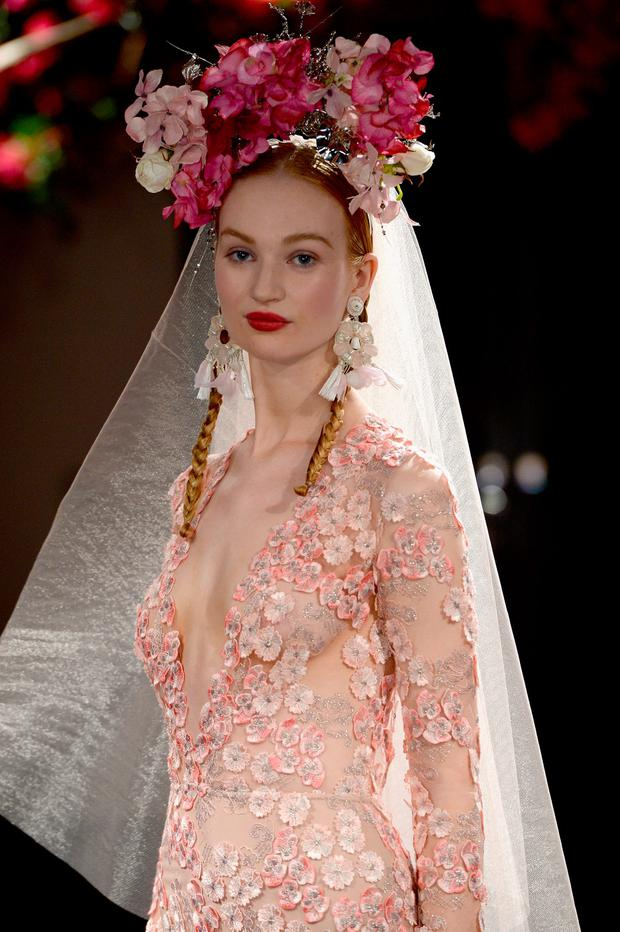 Clara McSweeney walks the runway during the Naeem Khan Bridal Fall/Winter 2016 show on October 9, 2015 in New York City. (Photo by Slaven Vlasic/Getty Images for Mary Kay)