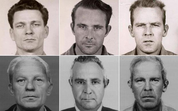 Prison mug shots of convicts Frank Morris, from left, Clarence and John Anglin in both their younger and older years Photo: Reuters