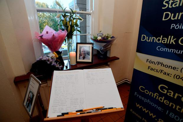 The Book of Condolences for the late Garda Anthony Golden at Dundalk Garda Station, Co. Louth. Photo: Caroline Quinn