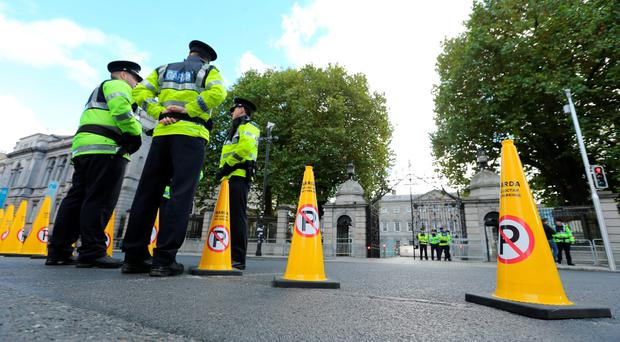 Gardaí outside Leinster House ahead of the Budget