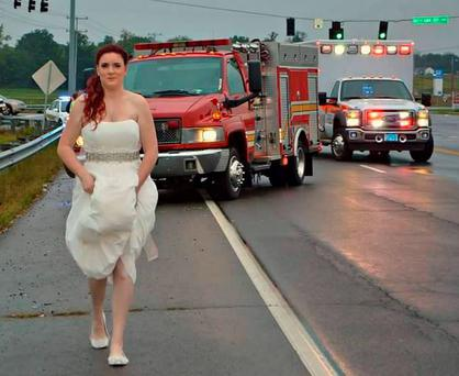 Sarah Ray tended to her grandmother after a car crash on Sarah's wedding day