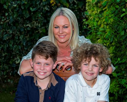 Friday 02 October 2015. Amanda Brunker with her sons R to L: Setanta (8) and Edward (9) McLaughlin