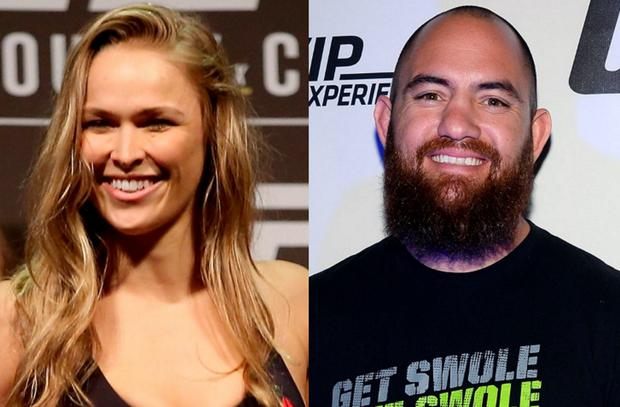 Ronda Rousey (left) and new boyfriend Travis Browne (right)