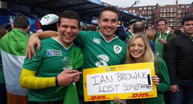 Couple John Cullinan & Rachel Kelly who found Ian Brown's missing match ticket for the RWC IRL v FRA match last Sunday