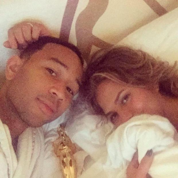 John Legend and Chrissy Teigen share pretty much everything on Instagram - even lazy days. Picture: Chrissy Teigen/Instagram