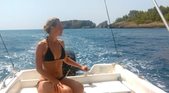 Kathryn Thomas enjoys the sea and sun on her Greek odyssey.