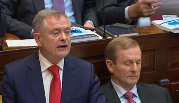 Minister for Public Expenditure and Reform Brendan Howlin speaks in Dáil chamber during the Budget Presentation 2016. Photo: Oireachtas TV