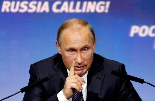 Russian President Vladimir Putin speaks during the 7th annual VTB Capital