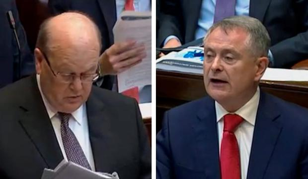 Michael Noonan and Brendan Howlin during Budget 2016 Presentation. Photo: Oireachtas TV