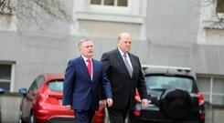 Minister for Public Expenditure Brendan Howlin and Finance Minister Michael Noonan outside the Dail. Photo: Gerry Mooney