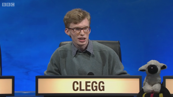 University Challenge contestant Charlie Clegg Credit: BBC website