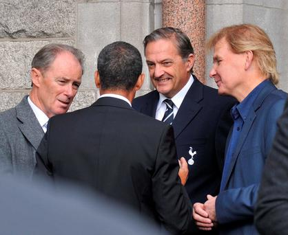 Soccer royalty Brian Kerr, Chris Houghton, Gary Mabbutt and Liam Buckley chat at the funeral of Krish Naidoo