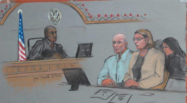 In this courtroom sketch, David Drumm is seated in federal court with his attorney Tracy Miner in front of Magistrate Judge Donald Cabell during his extradition hearing in Boston, Oct. 13, 2015. ( Sketch by Jane Flavell Collins)