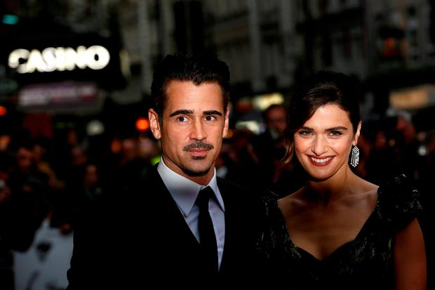 Cast members Rachel Weisz and Colin Farrell arrive at the Gala screening of the film