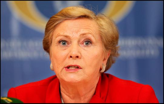 Minister for Justice Frances Fitzgerald speaking at her Budget Press Briefing at the Italian Room at Government Buildings. Pic Steve Humphreys 13th Ocober 2015.