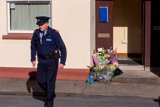 Flowers at Omeath Garda Station after the murder of Garda Tony Golden. Picture: Mark Condren