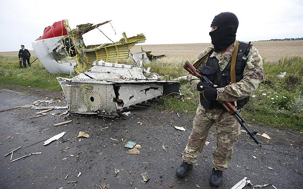 A pro-Russian separatist stands at the crash site of Malaysia Airlines flight MH17, near the settlement of Grabovo in the Donetsk region, in this July 18, 2014 file photo. Photo: REUTERS