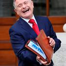 Public Expenditure Minister Brendan Howlin on the steps of Government Buildings yesterday. Photo: Steve Humphreys