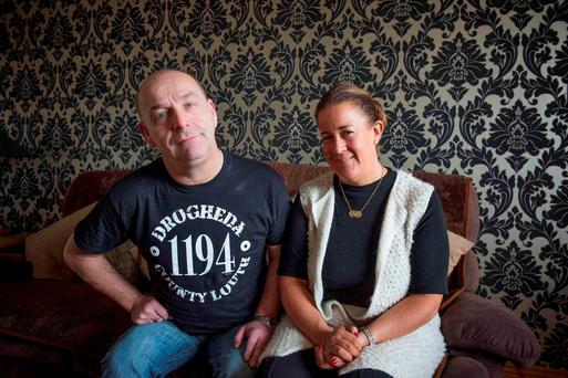 Dirk Francis and Michelle Reilly Francis at their home in Balbriggan. Michelle is a full time carer for her husband with huntington's disease. Photo: El Keegan