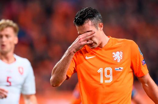 Netherlands' Robin van Persie reacts during the Euro 2016 qualifying fooball match Netherlands vs Czech Republic at the Amsterdam Arena last night