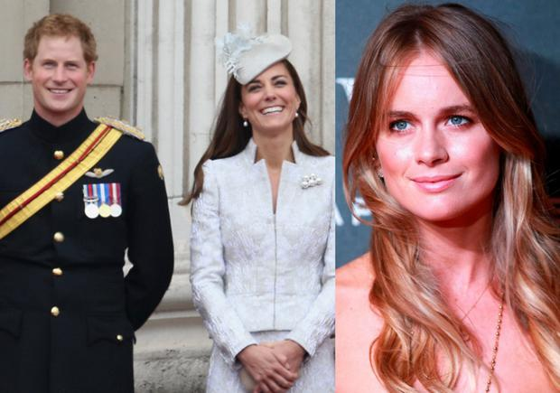 Prince Harry and Kate Middleton and (left) Cressida Bonas