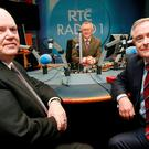 Minister for Finance Michael Noonan and Brendan Howlin Minister for Public Expenditure and Reform pictured with Sean O Rourke in the RTE Radio 1 Studio before going on air. Picture Credit: Frank Mc Grath
