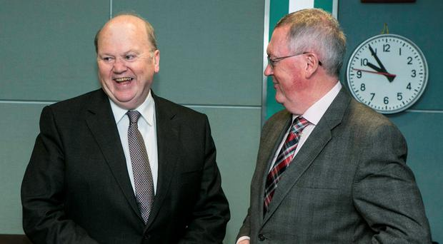 Minister for Finance Michael Noonan TD with Sean O'Rourke before he appeared on the Today with Sean O'Rourke radio show on RTE. Photo: Kyran O'Brien