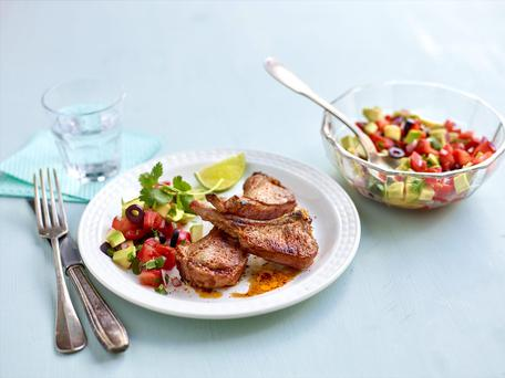 Spicy Lamb Chops with Avocado and Olive Salsa