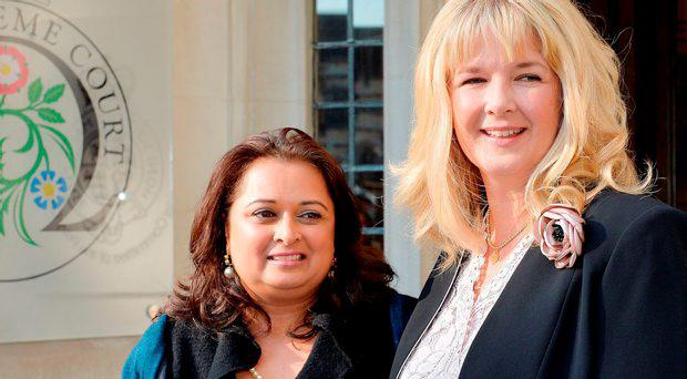 Varsha Gohil (left) and Alison Sharland (right) outside the Supreme Court in Westminster central London