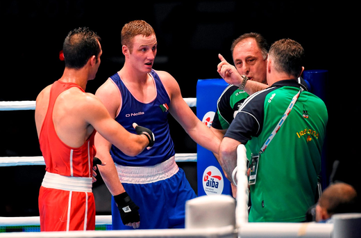 14 October 2015; Michael O'Reilly, Ireland, reacts alongside coaches Zaur Antia and Billy Walsh, right, after being beaten by Hosam Abdin, Egypt, in their Men's Middleweight 75kg Box-Off bout. AIBA World Boxing Championships, Semi-Finals. Ali Bin Hamad Al Attiyah Arena, Doha, Qatar. Picture credit: Paul Mohan / SPORTSFILE