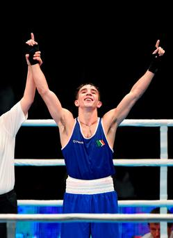 Michael Conlan celebrates after beating Murodjon Akhmadaliev, Uzbekistan, in their Men's Bantamweight 56kg Final bout. . Ali Bin Hamad Al Attiyah Arena, Doha, Qatar. Picture credit: Paul Mohan / SPORTSFILE