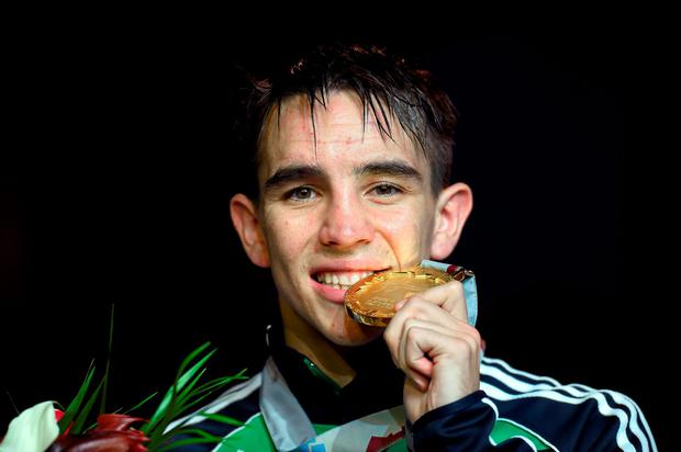 Michael Conlan celebrates with his gold medal after beating Murodjon Akhmadaliev, Uzbekistan, in their Men's Bantamweight 56kg Final bout. Picture credit: Paul Mohan / SPORTSFILE