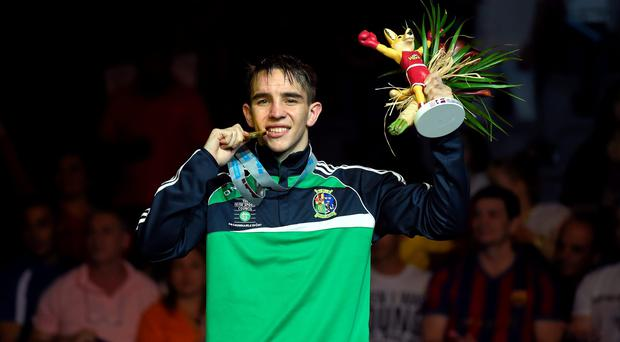 Michael Conlan celebrates with his gold at the AIBA World Boxing Championships