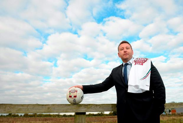 Newly appointed manager Cian O'Neill, pictured at Kildare GAA's announcement of its Brady Family Ham's sponsorship renewal, will begin his tenure with the lilywhites in Division 3