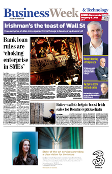 The front page of this morning's Irish Independent business section
