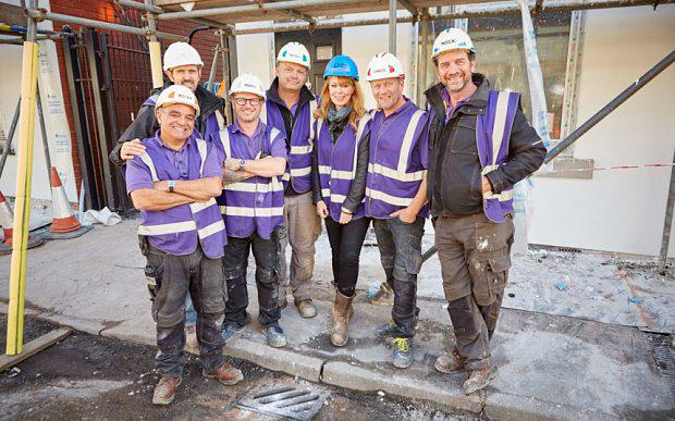 Programme Name: DIY SOS: Homes for Veterans - TX: n/a - Episode: n/a (No. n/a) - Picture Shows: (L-R) The DIY SOS team. Billy Byrne, Adam Frost, Mark Millar, Julian Perryman, Gabrielle Blackman, Chris Frediani, Nick Knowles - (C) BBC - Photographer: tbc