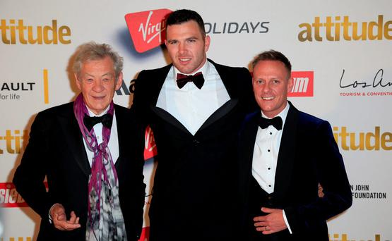 Sir Ian McKellen (left), Kiegan Hirst (centre), and Anthony Cotton (right) attend the Attitude Pride Awards at the Banqueting House, Whitehall, London