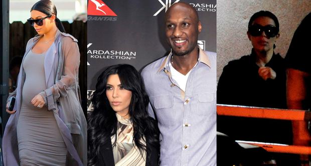 Kim Kardashian is eight months pregnant (left) with Lamar in 2010 (centre) and with mother Kris Jenner leaving Sunrise hospital in Las Vegas (right)