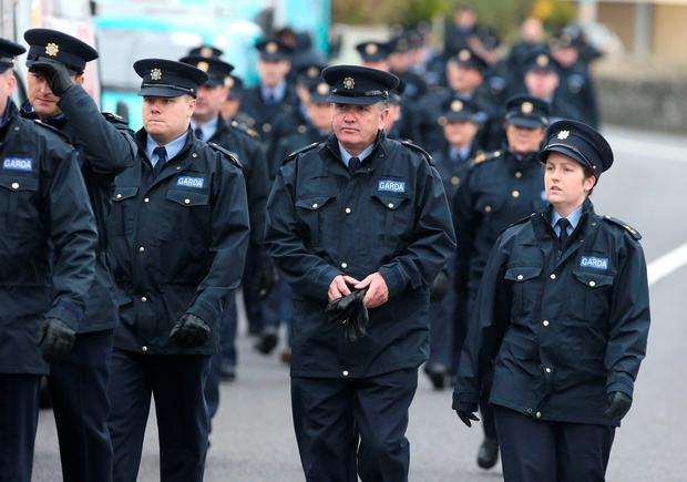 Gardai arrive for the funeral of Garda Anthony Golden at Blackrock, Co. Louth Picture credit; Damien Eagers