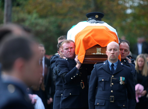 The coffin arrives for the funeral of Garda Anthony Golden at St Oliver Plunkett Church in Blackrock, Co. Louth Picture credit; Damien Eagers