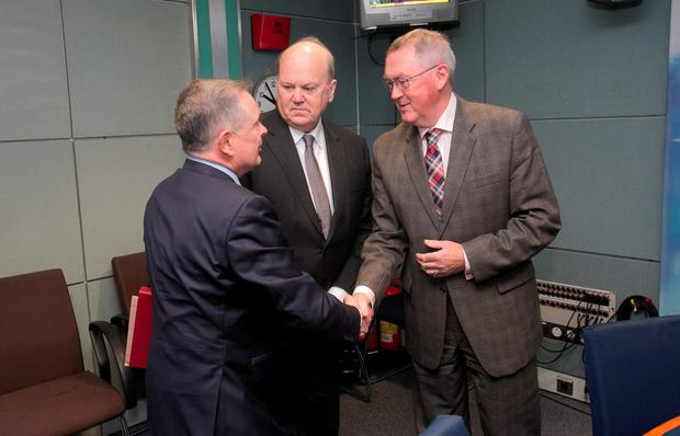 Minister for Public Expenditure Brendan Howlin TD, Minister for Finance Michael Noonan TD & Broadcaster Sean O' Rourke in RTE Radio studios for the Today with Sean O'Rourke for a phone in programme at Donnybrook, Dublin