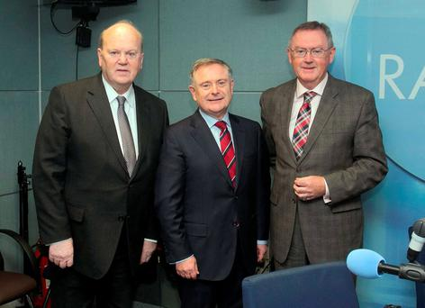 Minister for Finance Michael Noonan TD, Minister for Public Expenditure Brendan Howlin TD & Broadcaster Sean O Rourke in RTE Radio studios for the Today with Sean O'Rourke for a phone in programme at Donnybrook, Dublin