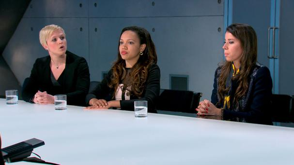 Aisha, Vana and Natalie face Lord Sugar in the boardroom