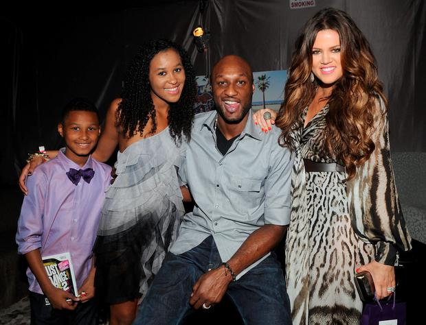 (L-R) Lamar Odom Jr, Destiny Odom, Lamar Odom and Khloe Kardashian attend Backstage Creations Celebrity Retreat during Teen Choice 2011 day 2 at Gibson Amphitheatre on August 7, 2011