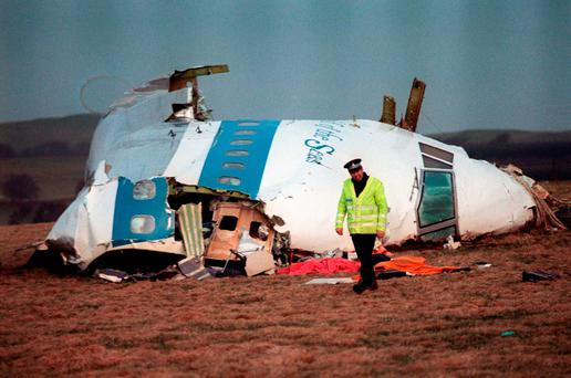 The wreckage of Pan Am flight 103 aircraft that exploded killing all 259 people aboard Credit: ROY LETKEY (Getty Images)