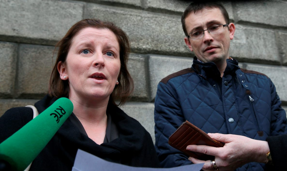 Aoife and Raymond Manton, of Dulla Road, Cashel, Co. Tipperary, pictured speaking to the media outside the Four Courts after they settled a High Court action on behalf of their daughter, Katie.Pic: Collins Courts